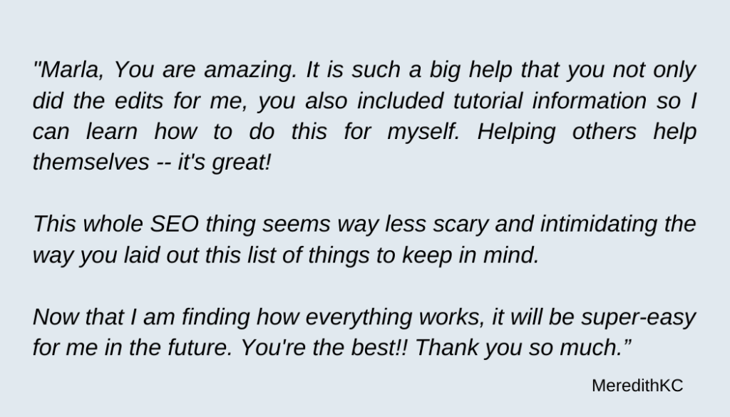meredith testimonial seo for blogs with marlahb